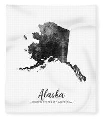 Alaska State Map Art - Grunge Silhouette Fleece Blanket