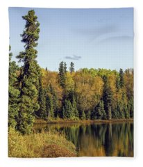 Alaskan Lake In Autumn Fleece Blanket