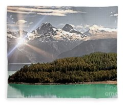 Alaskan Mountain Reflection Fleece Blanket