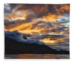 Alaskan Passageway Sunset Fleece Blanket