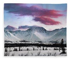 Alaskan Range At Sunset Fleece Blanket