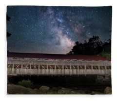 Albany Covered Bridge Under The Milky Way Fleece Blanket