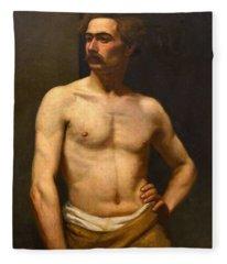 Albert Edelfelt Male Model Fleece Blanket