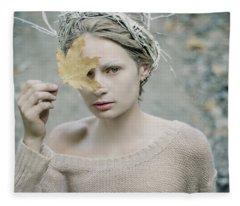 Albino In Forest. Prickle Tenderness Fleece Blanket