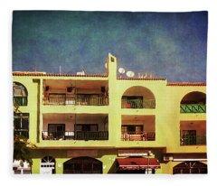 Alcala Yellow Balconies Fleece Blanket