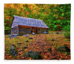 Alex Cole Cabin At Jim Bales Place, Roaring Fork Motor Trail In The Smoky Mountains Tennessee Fleece Blanket