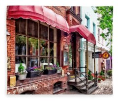 Alexandria Va - Red Awnings On King Street Fleece Blanket