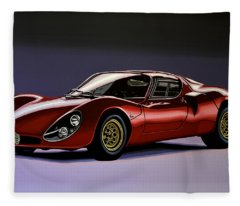 Alfa Romeo Paintings Fleece Blankets