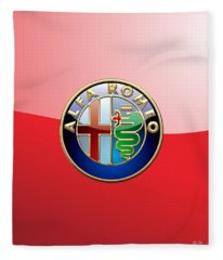 Alfa Romeo - 3d Badge On Red Fleece Blanket