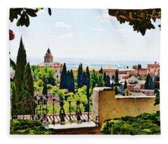 Alhambra Gardens, Digital Paint Fleece Blanket
