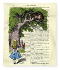 Alice In Wonderland And Cheshire Cat Fleece Blanket