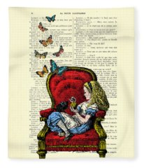 Alice In Wonderland Playing With Cute Cat And Butterflies Fleece Blanket