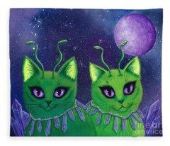 Alien Cats Fleece Blanket