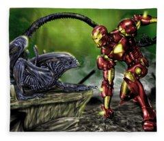 Alien Vs Iron Man Fleece Blanket