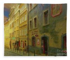 All Downhill From Here - Prague Street Scene Fleece Blanket