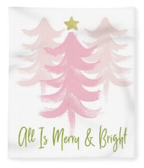 All Is Merry And Bright- Art By Linda Woods Fleece Blanket