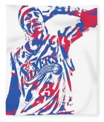 Allen Iverson Philadelphia 76ers Pixel Art 14 Fleece Blanket