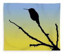 Allen's Hummingbird Silhouette At Sunrise Fleece Blanket