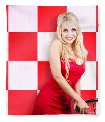Alluring Long Haired Blonde Beauty In Retro Cafe Fleece Blanket