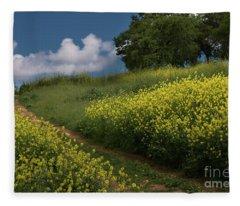 Almaden Meadows' Mustard Blossoms Fleece Blanket