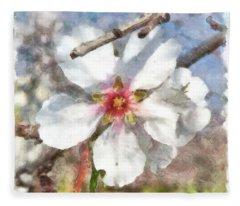 Almond Blossom Study Watercolor Fleece Blanket