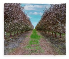 Almond Trees Of Button Willow Fleece Blanket