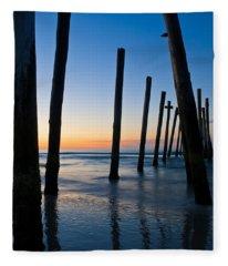 Almost Sunrise At The Pier Fleece Blanket