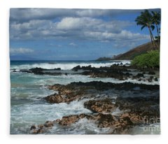 Aloha Island Dreams Paako Beach Makena Secret Cove Hawaii Fleece Blanket