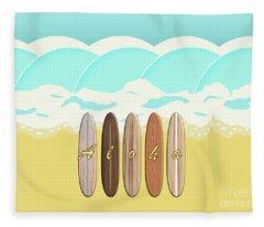 Aloha Surf Wave Beach Fleece Blanket