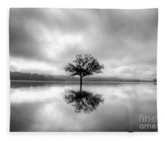 Alone Bw Fleece Blanket