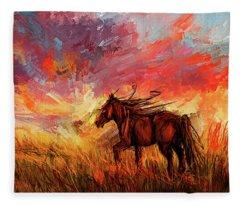 Alone In The Range - Horse At Sunset Fleece Blanket