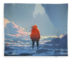 Alone In Winter Fleece Blanket