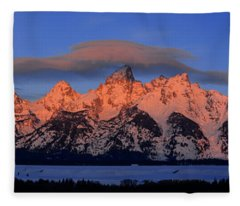 Alpenglow Tetons 2 Fleece Blanket