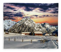 Alpine Winter Scene Fleece Blanket