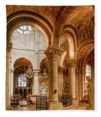 Poissy, France - Altar, Notre-dame De Poissy Fleece Blanket