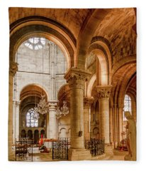 Poissy, France - Altar, Notre-dame De Poissy Fleece Blanket