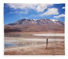 Altiplano Landscape With Volcano And Flamingos Fleece Blanket