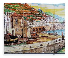 Amalfi Street Art Fleece Blanket
