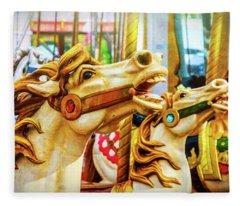 Amazing Carrousel Horses Fleece Blanket