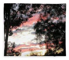 Amazing Clouds Black Trees Fleece Blanket