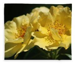 Amber Yellow Country Rose Fleece Blanket