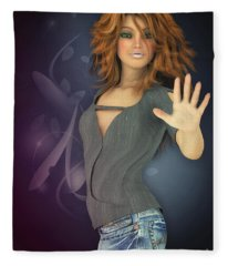 Amelie In Jeans Fleece Blanket