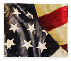 America Flag Pattern Postcard Fleece Blanket