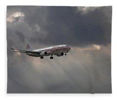 American Aircraft Landing After The Rain. Miami. Fl. Usa Fleece Blanket