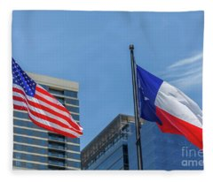 American And Texas Flag On Top Of The Pole Fleece Blanket