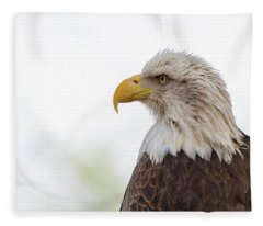American Bald Eagle Closeup Copy Space Fleece Blanket