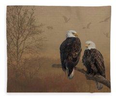American Bald Eagle Family Fleece Blanket