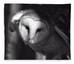 American Barn Owl Monochrome Fleece Blanket