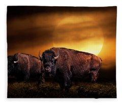 American Buffalo Under A Super Moon Fleece Blanket