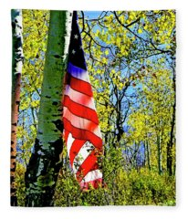 American Flag A Veteran Hunters Homage Fleece Blanket